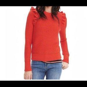 Banana Republic Red/ Orange ruffle sweater